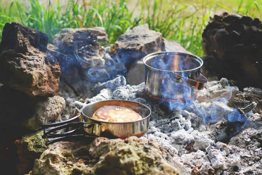 Cooking on a fire in winter