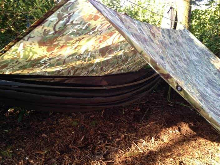 Tarp and Hammock set up from Wildway Bushcraft Bushcraft in the UK
