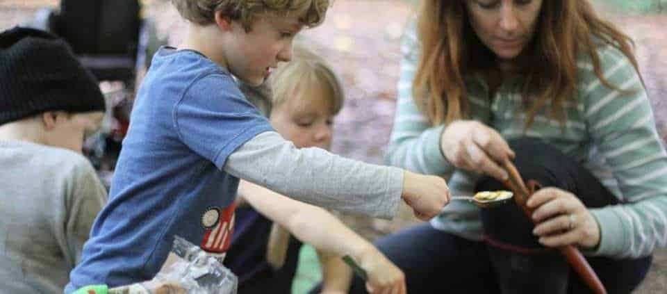 Family bushcraft course from Wildway Bushcraft knife safety
