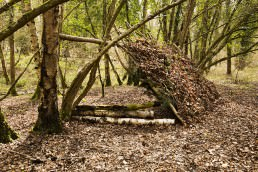 shelter building on a weekend bushcraft course