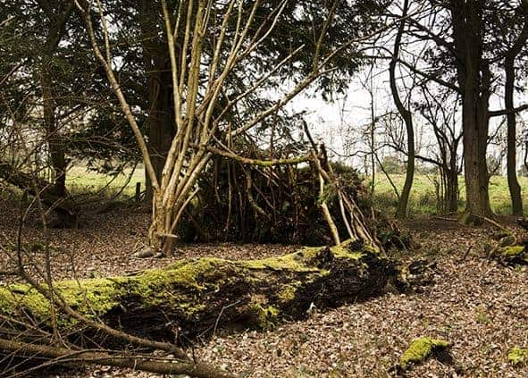 shelter building on our Weekend bushcraft course Wildway Bushcraft